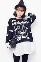 2014 autumn women's top loose medium-long faux two piece long-sleeve pullover sweatshirt female
