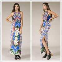 New arrival Women's Bohemian Print Halter Maxi Dress boho dress