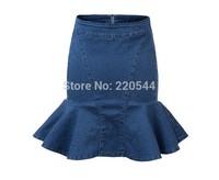 Sexy tight hips denim skirts short skater trumpet high waist skirt for womens club wears