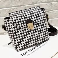 2014 autumn fashion houndstooth pattern vintage messenger bag bucket bag messenger bag handbag women's trend