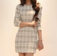 2014 autumn women's pencil formal elegant gentlewomen slim plaid long-sleeve dress