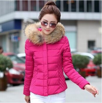 2015 осень и зима большой меховой воротник тонкий короткая куртка тонкий короткий пуховик женский дизайн