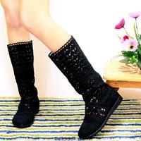 2014 Autumn single female boots net boots summer single boots cutout boots flat heel female shoes free shipping
