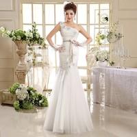 2014 New Arrival Luxurious Elegant One Shoulder Wedding Dress Floor Length Mermaid Crystal Dress HS582