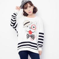 2014 autumn loose casual medium-long stripe patchwork batwing sleeve pullover sweatshirt t-shirt female