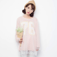 2014 autumn women's elegant sweet gentlewomen medium-long faux two piece lace long-sleeve basic shirt t-shirt