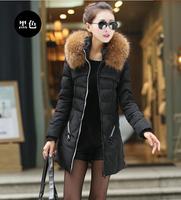 2014 Winter women's thickening plus size large fur collar medium-long slim outerwear down coat down jacket Free shipping