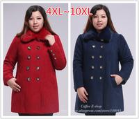 Plus Size Women's Clothing 2014 Winter Rabbit Fur Collars Double-breasted Medium-long Woolen Overcoat Outerwear 4XL~10XL