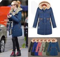 Winter 2014 Parka Womens Hooded Thickening Candy Color Slim Coats Ladies Jackets outwear women Jaquetas Femininas Casaco Inverno
