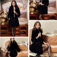 New Women's Fur Coat 2014 Long Plus Size Fox Fur Marten Velvet Overcoat Winter Warm Ladies Outerwear Coat Supply Size(M-4XL)