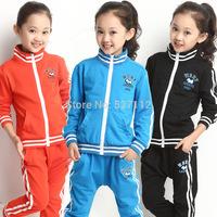 Meninas Vestir Sale New Jackets 2014 Autumn Female Child Set Children Long-sleeve Zipper Sweater Clothes Spring And 8933 Twinset