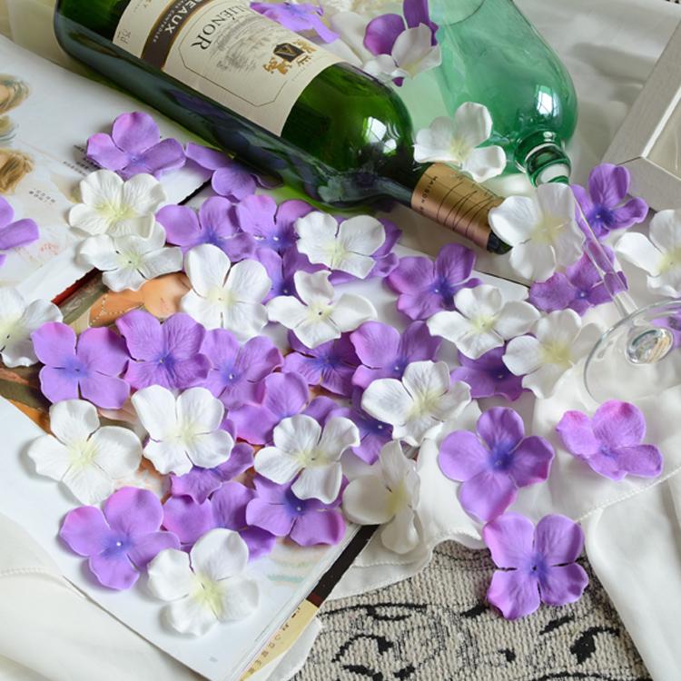 350pcs Wedding supplies marriage props wedding supplies guelder hydrangea silk flowers petals rose for home decoration flowers(China (Mainland))