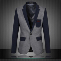 2014 New Men Blazer Blue Fashion Slim Fit Blazer For Men Blue Sleeves Patchwork Business Casual Men Suit Plus Size 5XL 6XL