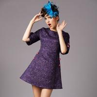 Button design Half Sleeve Slim Plus Size Dresses 2014 Autumn New purple casual dress Ladies party Jacquard dresses