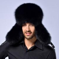 Genuine fox fur fox fur hat winter hat ear Lei Russian male silver fox raccoon hat factory wholesale free shipping