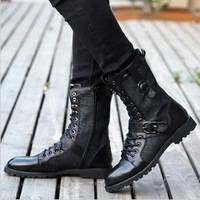 Hot sales winter shoes men genuine leather martin boots fashion Middle Tube Korean British style high real leather army boots