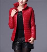 M-4XL 2014 autumn and winter short design PU down cotton cotton-padded jacket slim wadded jacket outerwear winter women's