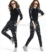 Novelty 2014 suit female horse /skull sweatshirt+pants hoodies tracksuits clothing pullover sport sportswear 2 piece set women