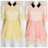 New 2015 Women Sweet Cute  Lace Ruffles Organza Dress Romantic Pink Yellow princess sleeves Mini Dress Free Shipping