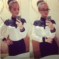 New 2014 European Fashion Cape-Style Lace Long Sleeve Chiffon Blouses Shirts For Women Spring/Autumn Tops Blusas Femininas
