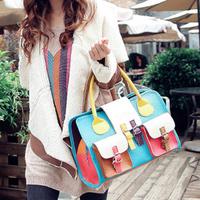 2014 bag color block women's handbag fashion vintage bags color block women's handbag decoration shoulder bag spring and summer