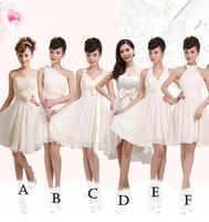 2014 Bridesmaid Short Chiffon Dress Sisters Bridal Formal Dress Prom Dress Champagne Dress Under $50