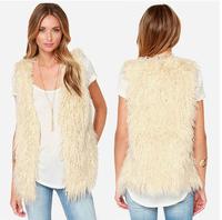 2014 Autumn And Winter Elegant White Faux Lamb Fur Fleece Sleeveless Vest Casual Jackets Women Blazer Women Ivory White Fur Coat