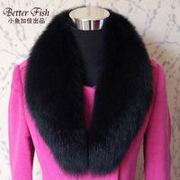 2014 Winter Warm Women men's colorful big Fox fur collar shawl Unisex muffler scarf Neckerchief