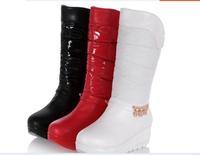 Free shipping Flat heel platform down boots decoration slip-resistant thick velvet medium-leg thermal waterproof snow boots