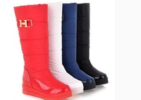 Winter waterproof down high-leg snow boots female cotton  flat heel fur boots platform student cotton-padded shoes