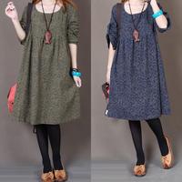 2014 loose o-neck long design plus size clothing autumn elegant long-sleeve dress female winter dress causal dress