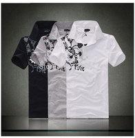 Hot-selling  male turn-down collar short-sleeve t shirt flower printing  slim fit cotton T-shirt