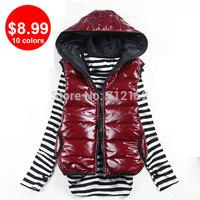 10 Colors Down Women Outwear Vest Coats S M L XL XXL 2XL Size Cotton Hooded Winter Warm Women Waistcoat Slim women vest overcoat