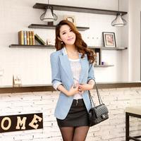Free Shipping !!! 2014 Autumn New Arrival Elegant Denim Plus Size Feminine Blazer 2 Colors 808