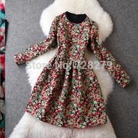 2014 Women's Dress Autumn DRESS  Fashion Vintage DRESS  Print  Jacquard Long sleeve Printed  Dress Gown
