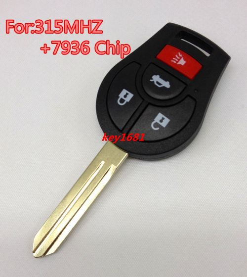 Car Key For Nissan 3+1Button Remote Control 315MHZ With 7936(ID46) Transponder Chip uncut blade(China (Mainland))