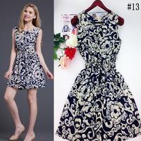 2014 one-piece dress fashion hot-selling women's plus size chiffon print sleeveless vest floral print female dress WC0344-1