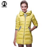Fancyinn Women's Winter Keep warm Down Jacket Long Style Hooded Slim Ventilation Yellow Down Jacket Cotton Coat
