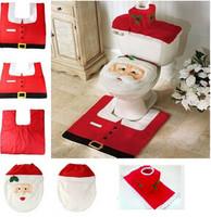 3pcs/set Christmas Bathroom toilet seats cover mat plus water tank + towel sets + toilet cushion thermal potty sets