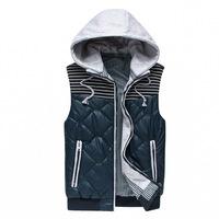 Removable Hooded Man Casual Slim Vest Plus Size M-2XL Rib Bottom Zipper Fly Pocket & Placket Design Men Fashion Waistcoat