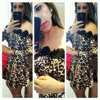 Fashion Women Leopard Print and Black Lace Patchwork Dress Sexy Club&Party Vestidos de festa