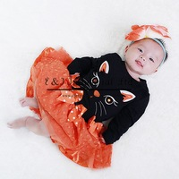 2014 Autumn And Winter Girl Dress Little Black Cat Shirt Orange Tutu Dresses Fashion Children Wear GD41011-19