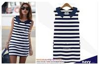 2014 New Clothing Women Peter Pan Collar Sleeveless Casual Striped Jeans Blue Dress Ladies Fashion Summer Tank Dress#CGD032