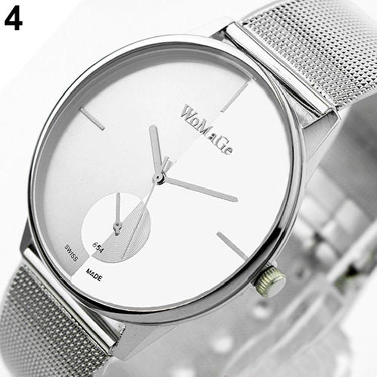 relojes de marca Womage Women Lady Fashion Stainless Steel Mesh Analog Bracelet Wrist Watch Metal Iron Net Web montre femme(China (Mainland))