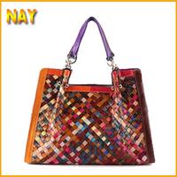 EU Fashion Styles!Genuine Leather Handbag Women's Messenger Bag Female Shoulder Bag Leather Woven Bags