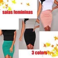 Pink/Green/Black Draped Knee Length Skirt LC71071 saias femininas Skirts Female Maxi Skirt Free Shipping 2015