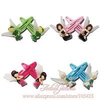4pairs/lot Tinker Bell Cartoon Logo Cute Baby Girls Kids Hair Bands/Hair Clip/Hair Claws,Hair Maker Tools