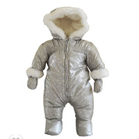 High quality winter warm thermal windproof and waterproof silver snowflake unisex baby footies cheap