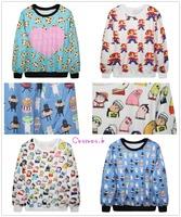 New Arrive Fashion Black Autumn Womens Cartoon Floral Print Sweatshirts Cute Pullover MDWY3/5/6/8