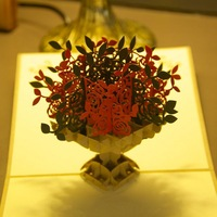 Vintage Many Rose Handmade Creative Kirigami & Origami 3D Pop UP Greeting & Gift Cards Thank You Cards Free Shipping (set of 10)